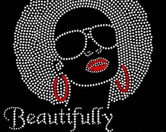 "Culture, African, Natural, Bling, Diva, Rhinestone ""Beautifully Persuaded"" T-Shirt"
