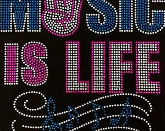 """Music, Bling, Diva, Rhinestone """"Music is My Life"""" T-Shirt"""