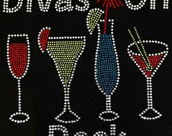 "Wine, Drink, Social, Bling, Diva, Rhinestone ""Divas on Deck"" T-Shirt"