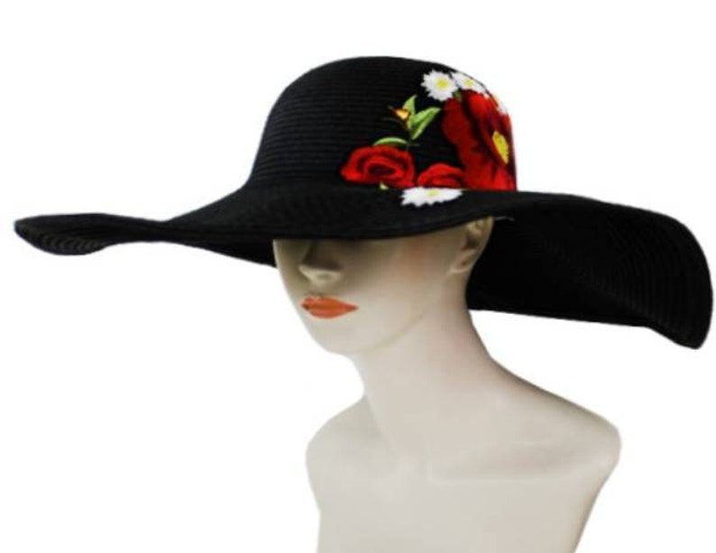 cceee19af5549 Sun Hat Embroidery Beach Sun Flower Swim Deep Red
