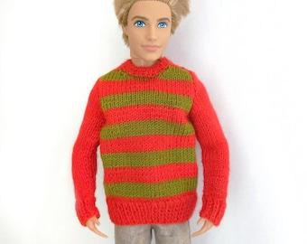 dfaaee380df Doll male clothes striped sweater Freddy Krueger 1 6 scale bjd barbie ken  fashion royalty 12