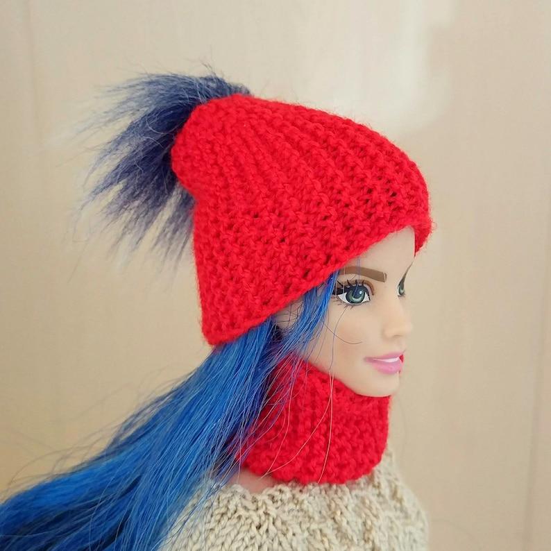 Barbie clothes pom pom hat scarf warm winter wear WWE doll  d9bf2d88600