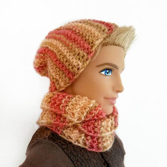 a0451d63ca43 Poupée Vêtements ensemble bonnet écharpe garçon Ken barbie   Etsy