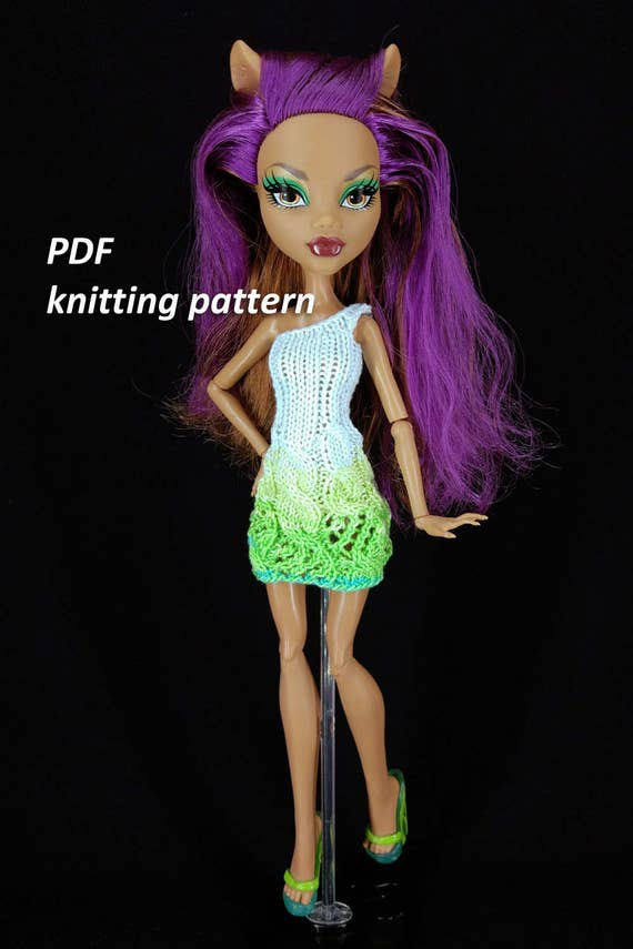 Pdf Pattern Doll Knitted Dress Instructions Clothing Etsy