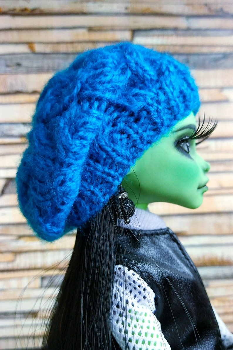 Moxie Teenz MH blue knitted beret Doll clothing LIV doll clothes 5-6 inch head size EAH warm winter hat Doll/'s fashion accessories