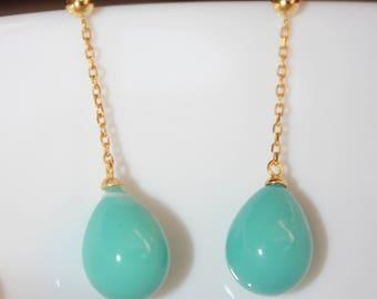 Blue/ Pink Coral Wedding Earrings : Sky Blue/Pink Coral Porcelain Long Drop Earrings.