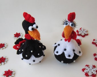 Funny Roosters. Knitting Roosters. Knitting pattern knitted round. Amigurumi Rooster. PDF instant download. Easter decoration.