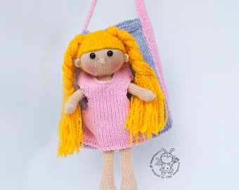 Doll Evie and a handbag for dolls Amigurumi softie doll Handbag pattern Instant download Knitting pattern Knitted round Set doll 2 in 1