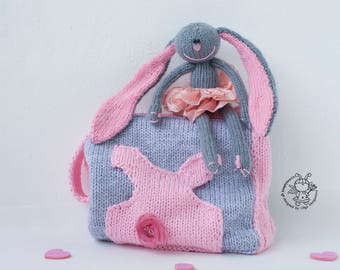 Bunny Peony and a handbag knitting pattern (knitted round). Аmigurumi bunny. pdf Instant Download.  pdf  handbag knitting pattern