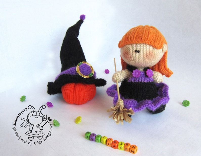 Knitting flat Young Witch Doll. Knitting pattern Amigurumi ...