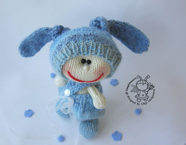 Blue Bunny Amigurumi Bunny Bunny Toy Pattern Knitted