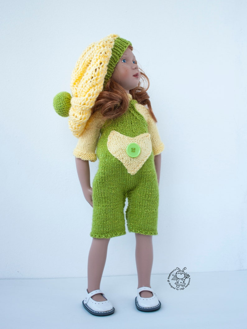 Lime and lemon outfit for 16-18 or similar sized dolls American Girl Gotz Zwergnaze PDF Doll Clothes knitting flat pattern