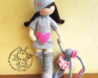 Amigurumi doll Irishka Knitting softie doll PDF pattern doll Instant download Knitting pattern Knitted round Gift for girl DIY knitted toy
