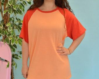 Peach and red raglan t-shirt