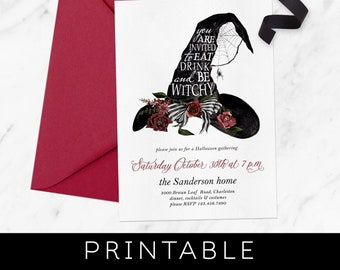 Halloween Invitation Download, Halloween Printable Invitations, Halloween Invites, Witch Invitation, Halloween Party, Costume Party