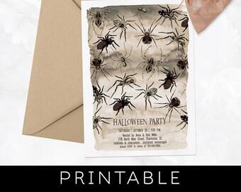 Halloween Printable Invitations, Halloween Invites, Spider Invitation, Adult Halloween Party Invitation, Halloween Invitation, Costume Party