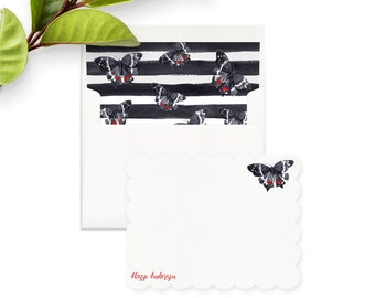 Watercolor Butterfly Note Cards, Custom Notecards, Personalized Stationery Set, Thank You Notes, Envelope Liner, Return Address, Butterflies