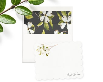 Personalized White Cherry Blossoms Floral Note Cards, Custom Watercolor Flower Stationery, Gift for Her, Envelope Liners, Return Address