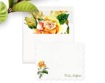 Personalized Yellow Roses Floral Note Cards, Custom Watercolor Flower Stationery, Gift for Her, Flower Note, Envelope Liners, Return Address