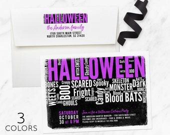 Halloween Invitation, Halloween Invite, Adult Halloween Party Invitation, Printed, Halloween Birthday Invitation, Costume Party Invitation