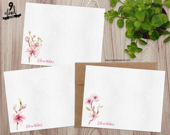 Personalized Note Cards, Personalized Stationery, Floral Custom Note Cards, Watercolor Flowers Flat Note Card Set, Boxed Stationery NC017
