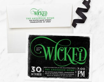 Wicked Halloween Invite, Adult Halloween Party Invitation, Printed Halloween Invitation, Halloween Birthday Invitation Adult, Costume Party