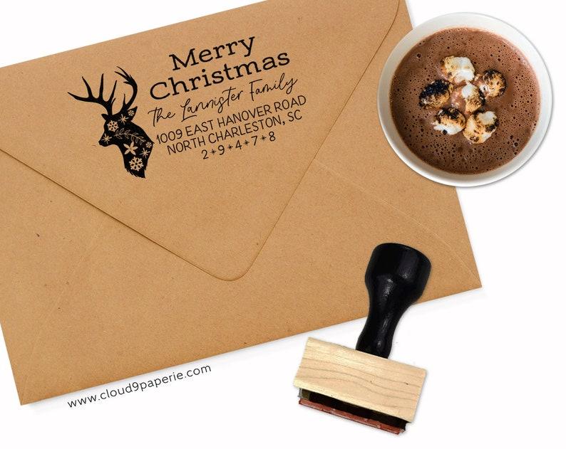 Christmas Address Stamp Deer Address Stamp Holiday Return Address S041 Holiday Address Stamp Christmas Deer Stamp Self Inking Stamp