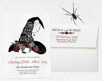Halloween Invitation, Halloween Invite, Halloween Party, Printed Halloween Invitation, Witch Invitation, Costume Party