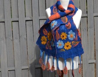 Nuno Felt scarf BLUE Women two-sided Nuno Felted scarves Handmade OOAK Fiber art