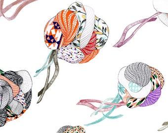 Art print wall art decor Fabrics jellyfish fashion poster Japanese style abstract art vintage aesthetic patterns fabric peach and mint
