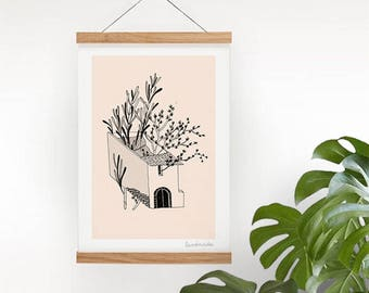 Peach pink house art print with plants print rustic wild wall art A4 / A5 nordic style botanical wanderlust plant line art urbex modern