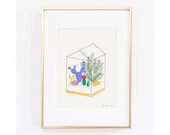 House geometric print terrarium Art illustration A4 greenhouse succulent cactus terrarium house terrarium
