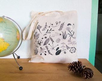 tote bag canvas plants botanical shopping bag plants botanic shopping bag cotton garden tote bag silkscreened sac pour le marche