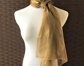 Henri Bendel Long Silk Scarf/ Bronze Gold Designer Sheer Silk Scarf/ Vintage Henri Bendel Accessoreis/ Holiday Silk Scarf, Henri Bendel
