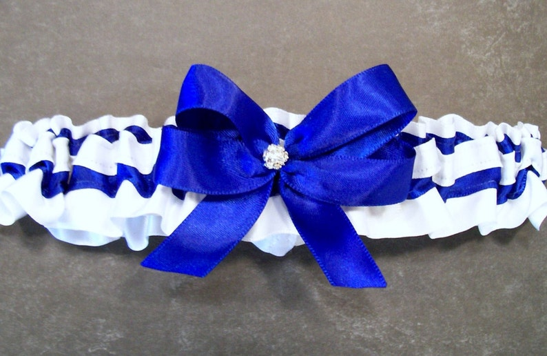 May also be purchased individually Handmade Cobalt Blue /& White Garter Set with an Indianapolis Colts\u00ae Enameled Charm Embellishment #FB20