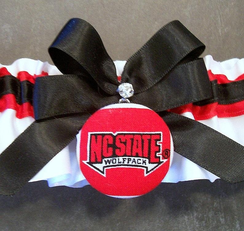 with North Carolina State University\u00ae Covered Button Embellishment #C43-A Handmade Black and Red Wedding Garter Set Bridal Garter Set