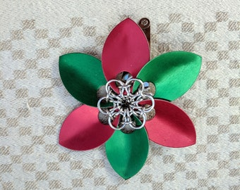 Chainmail Hair Flower - Chainmaille Barrette - Scale Maille Flower