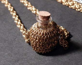 Brass Micromaille Necklace Bottle Capture - Spell Component - Pet Memorial - Essential oils - Renfaire Cosplay Jewelry