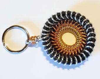 Sun Wheel Chainmail Fidget Disk - Chainmaille Keychain / Pendant - Fidget Necklace Pendant
