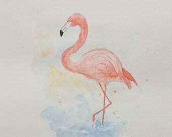 Original watercolor, flamingo, watercolor, watercolor flamingo, illustration, pink flamingo, bird illustration, 11x14 watercolor, painting