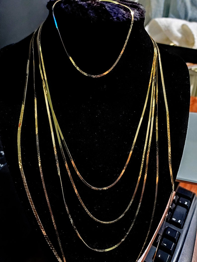 24 inch 16 inch 7 inch 20 inch 8 inch 18 inch 14K Gold Thin /& Wide Herringbone Bracelets and Chains