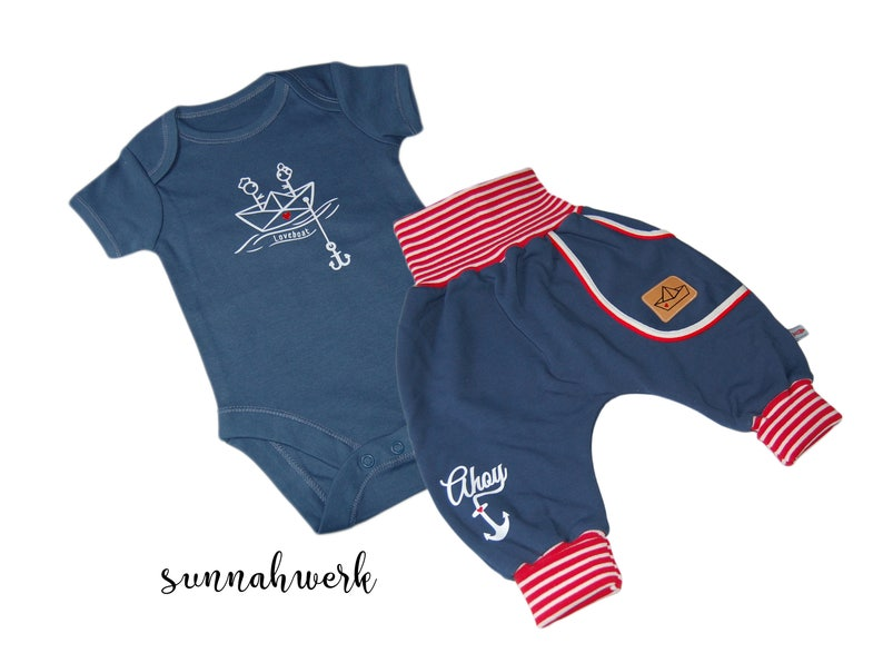 Baby set Loveboat size. 56 dark blue maritime image 0