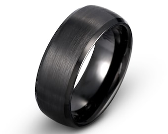 Black Brushed Tungsten Wedding Band, Mens Wedding Band, Domed Mens Ring, Polished Beveled Edge, Mens Tungsten Ring, Anniversary, 8mm band