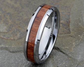91e0a42a8f Wooden Tungsten Wedding Band, Mens Wedding Ring, Polished Wood inlay Mens  Wooden Ring, 6mm Mens Band, Custom Laser Engraving, Anniversary