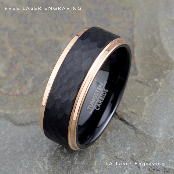 Two Tone Tungsten Wedding Bands With Black Domed Polished And