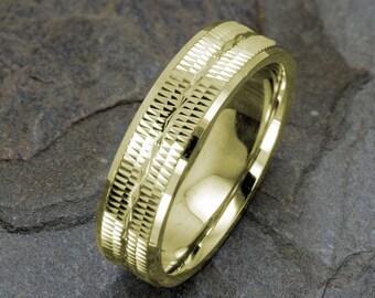Wedding Band 14K Gold Wedding Ring Grooved Infinity Polished edge Mens Wedding Band Yellow Gold Mens Ring 6mm Ring Wedding Band Mens