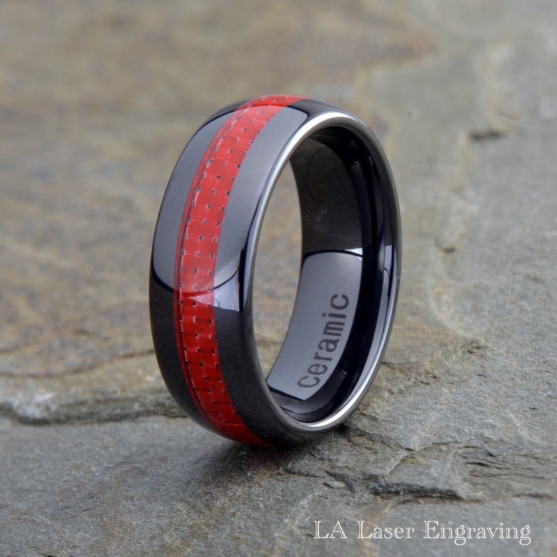 Red Carbon Fiber Inlay Ceramic Wedding Band Domed 8mm