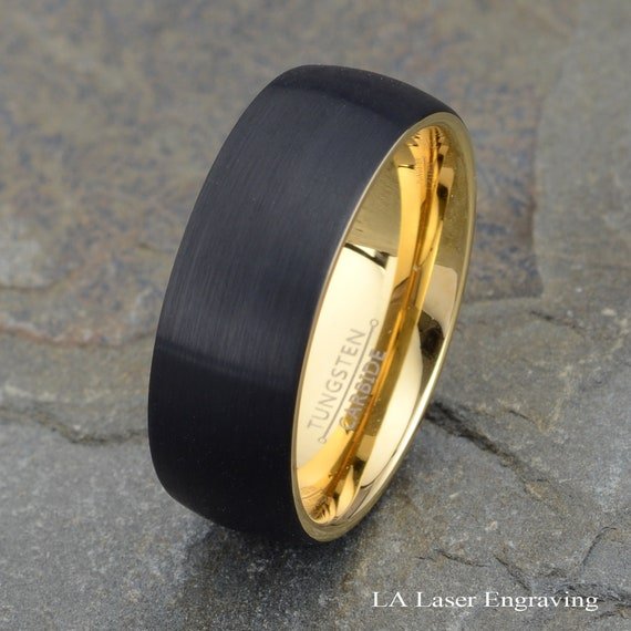 8mm Men/'s Jewelry Tungsten Carbide Purity Ring Absolute Black Domed Wedding Band
