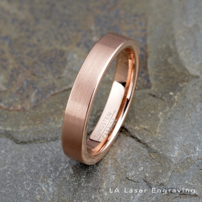 c94b5d989 Rose Gold Tungsten Wedding Band Mens Brushed tungsten Ring 4mm | Etsy