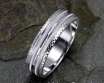 14K Gold Mens Wedding Ring, 6mm Wedding Band, Solid Gold Ring, Mens Ring, Mens Wedding Band, Personalized Ring, Mens Gift, Mens Band